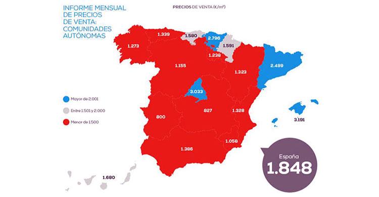 El precio de la vivienda sube un 1,96% frente al año pasado en España