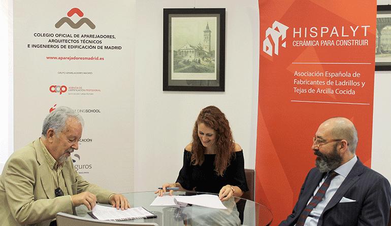 Hispalyt y el Colegio Oficial de Aparejadores de Madrid firman un convenio de asesoramiento profesional