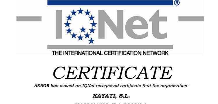 Kayati renueva el certificado de calidad ISO 9001:2015