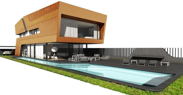vivienda unifamiliar de diseño y sostenible construida en madera