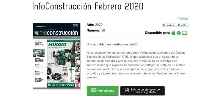 La revista InfoConstrucción se puede consultar en abierto y de manera gratuita