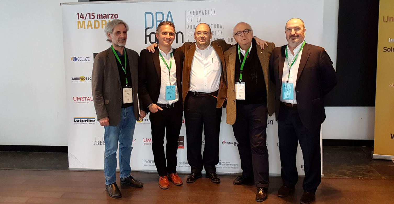 Iñigo Saloña, Joaquín de la Iglesia, Francisco Mangado, Javier Cenicacelaya y Francisco Sanz, en DPA Fórum Madrid